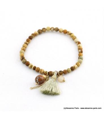 Bracelet avec pierres naturelles Zoé marron