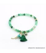 Bracelet avec pierres naturelles Zoé vert bouteille