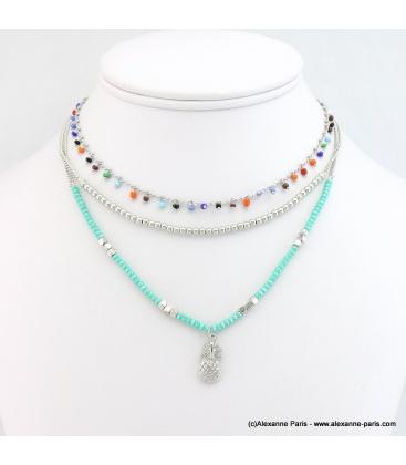 Collier perles et ananas Manon turquoise