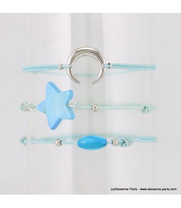 Lot de 3 bracelets lune, pierre et étoile Adixia