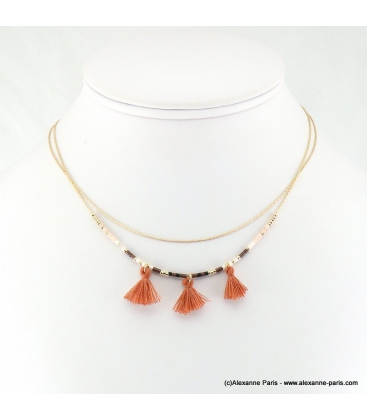 Collier double-rangs et pompons Inès