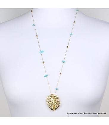 Sautoir pierres et feuille Monstera Lana turquoise