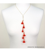Collier Y pompons Inaya rouge corail