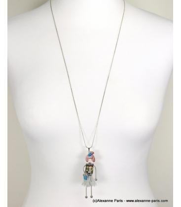 Sautoir poupée grise Stéphanie bleu