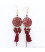 Boucles d'oreilles rosace filigrane et pompon Noémi