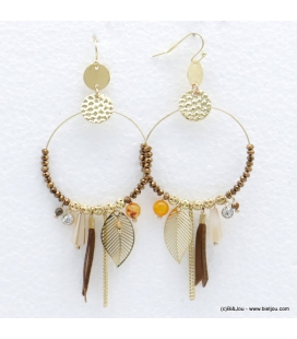 Boucles d'oreilles créoles perles feuilles Sabrina