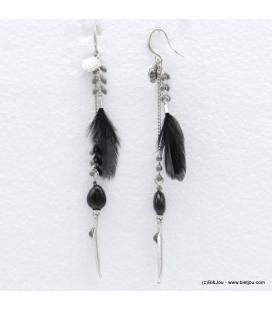 Boucles d'oreilles oversize plume Angélique