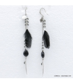 Boucles d'oreilles oversize plume Angélique noir