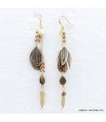 Boucles d'oreilles oversize plume Angélique marron