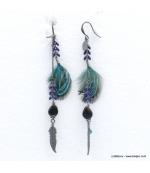 Boucles d'oreilles oversize plume Angélique bleu foncé
