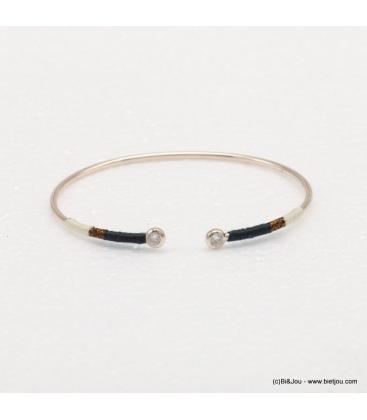 Bracelet jonc ouvert doré Carla marron