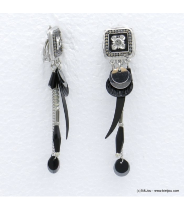 Boucles d'oreilles style bohème à clip Annaëlle noir