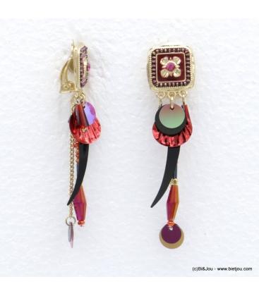 Boucles d'oreilles style bohème à clip Annaëlle bordeaux