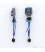 Boucles d'oreilles style bohème à clip Annaëlle bleu foncé