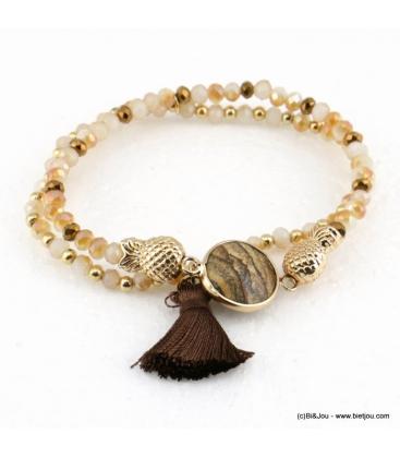 Bracelet charms ananas pierre pompon Éléonore marron