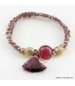Bracelet charms ananas pierre pompon Éléonore violet