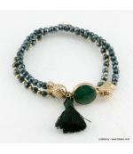 Bracelet charms ananas pierre pompon Éléonore vert