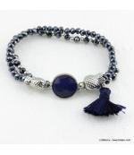 Bracelet charms ananas pierre pompon Éléonore bleu foncé