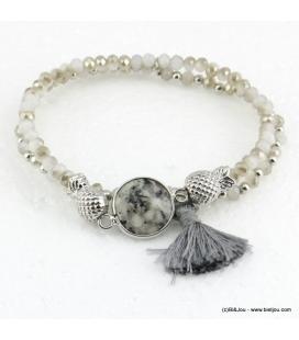 Bracelet charms ananas pierre pompon Éléonore gris clair