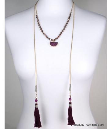 Collier lasso pierre naturelle pompon Tatiana violet