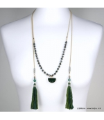 Collier lasso pierre naturelle pompon Tatiana vert