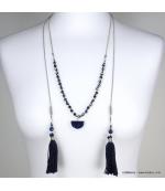 Collier lasso pierre naturelle pompon Tatiana bleu foncé