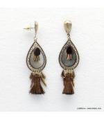 Boucles d'oreilles hippie nacre et pompon Myriam