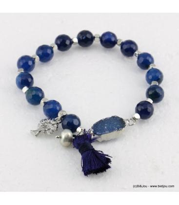 Bracelet élastique pierre naturelle et arbre de vie Thelma