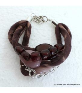 bracelet jersey imprimé marron