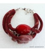 bracelet jersey imprimé rouge