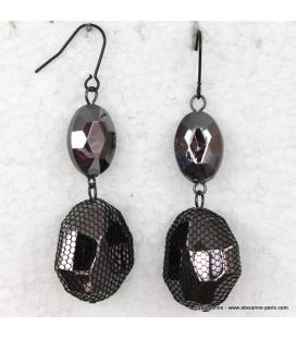 boucles d'oreille dentelle et perles