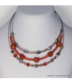collier tête de mort brillantes orange