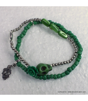 bracelet tête de mort rose vert