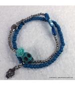 bracelet tête de mort rose bleu