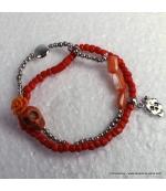 bracelet tête de mort rose orange