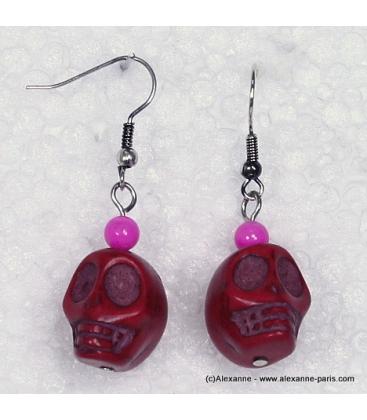 boucles d'oreille tête de mort mexicaine fushia