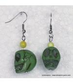 boucles d'oreille tête de mort mexicaine vert