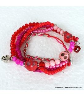 bracelet tête de mort entortillé fushia