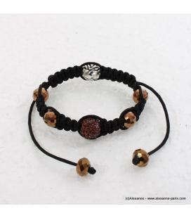 bracelet shamballa strass doré