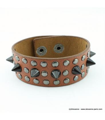 bracelet clou cone spike marron