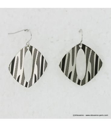 boucles d'oreille métal zébré noir