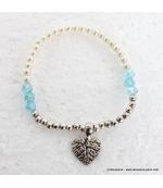 bracelet Coeur de Feuille bleu