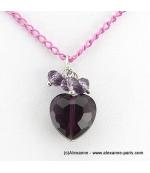collier Coeur de Cristal violet