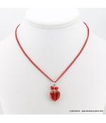 collier Coeur de Cristal rouge