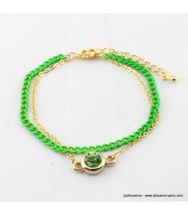 bracelet double flashy fluo vert