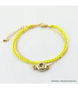 bracelet double flashy fluo jaune
