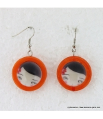 boucles d'oreille Reine de coeur orange