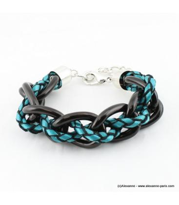 Bracelet Grosses mailles bleu