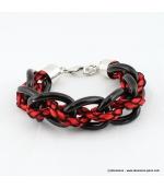 Bracelet Grosses mailles rouge