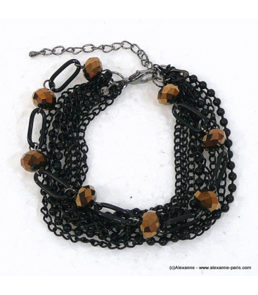 bracelet chapelet marron